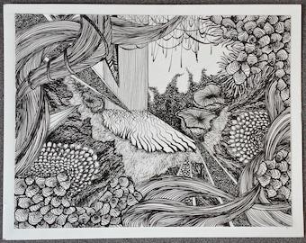 Abstract Texture Line Drawing Print, handmade and original