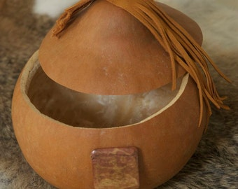 Modern gourd with leather