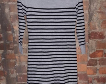 Sweater dress, black and grey striped