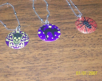 spider, skull and black cat halloween charm jewelry