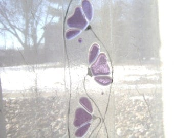 Purple Floral Fused Stained Glass Suncatcher