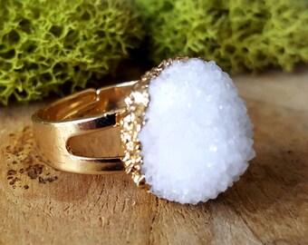 Snowy Quartz Cluster Crystal Ring   - 386