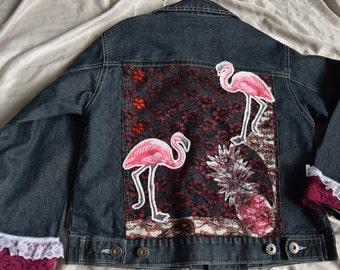 Girls flamingo denim jacket