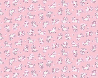 Biscuit Poodle Pink 1 yard fabric, Strawberry Biscuit collection from Penny Rose fabric