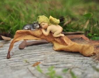 Miniature Dollhouse FAIRY GARDEN ~ Sleeping Fairy Baby With Kitty Cat ~ NEW