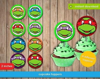 TMNT Cupcake Toppers - Teenage Mutant Ninja Turtles 2in Topper, decoration, favors - Pdf INSTANT DOWNLOAD