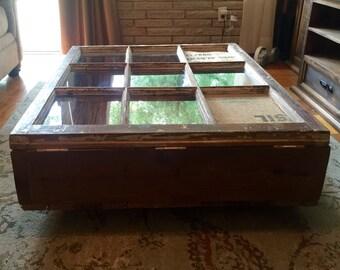 Custom Window Pane Living area table w/ Storage