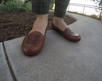 Brown-Woven Leather Flats