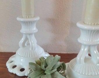 Vintage 60's Westmoreland white milkglass candlestick pair