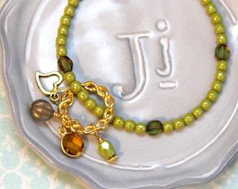 Beaded Bracelet - Olive Green and Gold Beaded Bracelet - Beaded Jewelry - Jewelry Gift - Wedding Jewelry