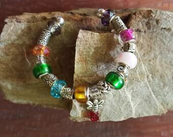 Beaded charm cuff bracelet