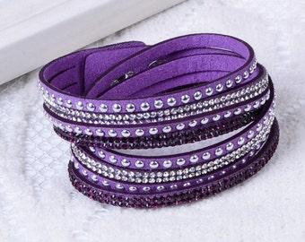 Crystal Swarovski Elements Leather Strap Bracelet Purple