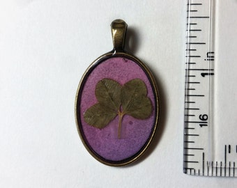 Real Four Leaf Clover Charm