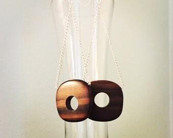 Handmade Wood Pendant Sterling Silver Dangle Earrings