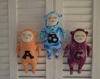 Primitive Folk Art Doll - Alphabet Soup Doll - Cheese Creek Primitives Original Design
