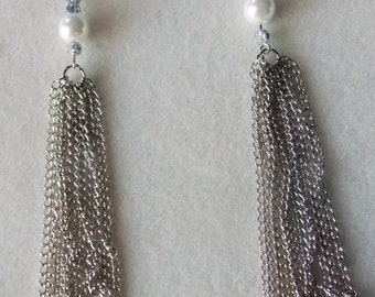 Pearl and Silver Drop Earrings