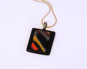 Fused Glass Contemporary Black, Grey, Tangerine, Yellow Necklace