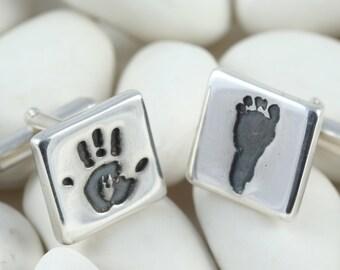 Handprint/ footprint cufflinks