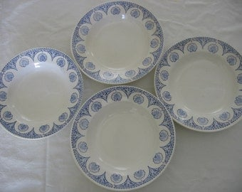 Very Attractive Digoin Sarreguemines Set of 4 Soup / Salad / Cereal / Pasta Bowls Vintage French Tableware CHAUMONT Design