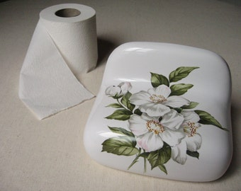 Toilet toilet porcelain of Paris floral / ceramic paper dispenser / Decoration WC bathroom / Vintage France
