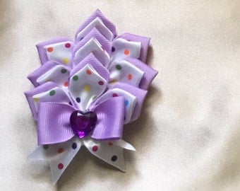 Violet Flower Hair Bow clip