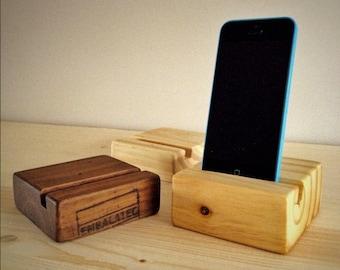 Rustic reclaimed wood phone holder dock