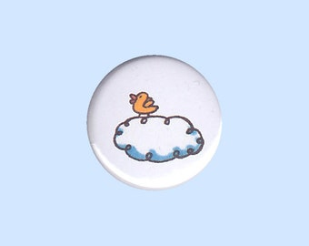 Little Birdie Badge - kid's button, children's badge, yellow bird pin, duckling button, duckling pin, baby bird pin, button, cute button