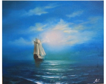 "Oil Painting ""Sailing in the moonlight"""