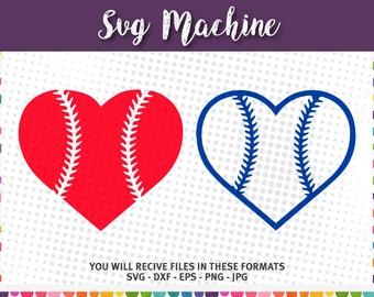 Baseball heart svg, sport, SVG design INSTANT DOWNLOAD vector files for cutting machines - svg, png, dxf, eps, jpg