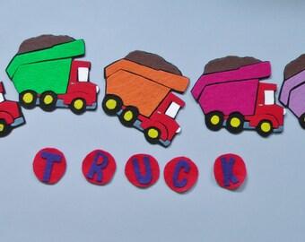 Toy Truck, Felt Truck, Flannel Board Story, Felt Board Story, Felt Board Set, Flannel Board Song, Truck BINGO, Preschool, Teacher Gift, Felt