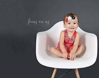 Baby Headband, Headband, Photography Prop, Newborn Prop, Baby Prop, Baby Girl Prop, // Red White Blue Flower Headband