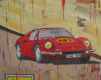 Acrylic painting Ferrari Dino 246 GTS, on painting, canvas, poster, direct from the artist.