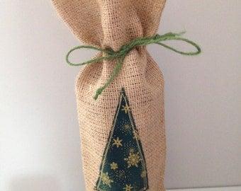 Applique Festive Hessian Burlap Bottle Bag, Wine Bottle Bag, Christmas Gift Bag