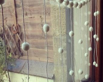 christmas window decoration, feltball window garland, snow decoration, snow white, christmas decorations