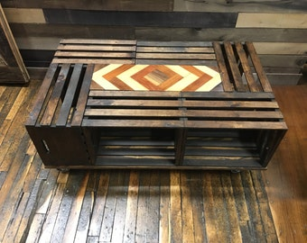 Wooden Crate Coffee Table With Glow Insert