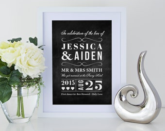 Personalised wedding anniversary couple print on chalkboard effect background with or without frame