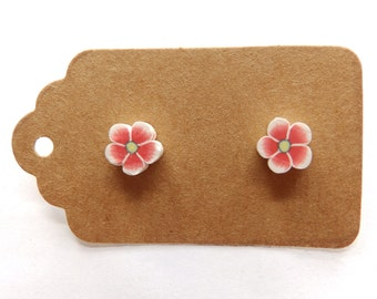 Handmade Red Polymer Clay Flower Studs