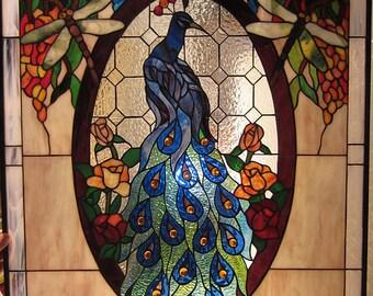 "Wisteria & Peacock Stained Glass Window 32""L x 24""W"