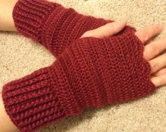 Women Crochet Fingerless Gloves, Knitted bordo handwarmers, handmade,  Wrist warmers Mittens