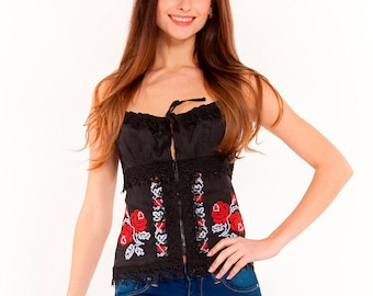 """Embroidered corset """"Red Roses"""""""