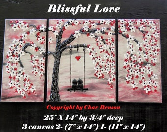 Cherry Blossom Tree with Love Birds Swinging in Red and White Blossoms Original Painting The Tree of Love Tree Painting Canvas Painting