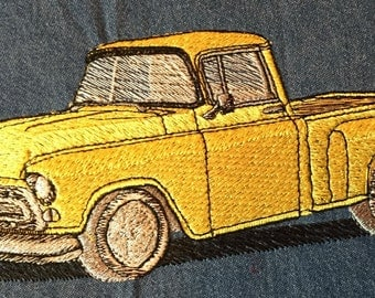 """Embroidered Classic Car """"Chevy Truck"""" Shirt"""