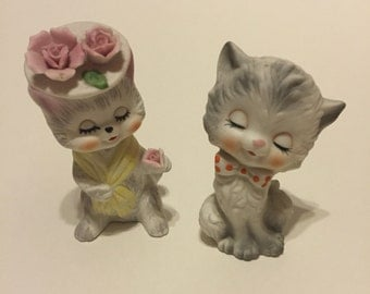 Pair of cutest vintage ceramic boy and girl kitty cata