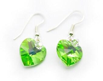 Green Crystal Heart Earrings