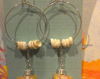 Sunrise shell earrings with puka shells
