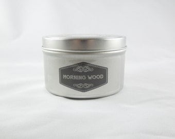 Eucalyptus and Spearmint 8oz Soy Aromatherapy Candle: Morning Wood. Funny handmade candle. Adult novelty gift.