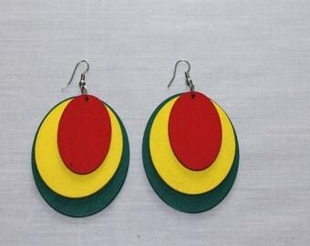Wooden Rastafarian 3-piece Oval Shaped Dangle Earrings