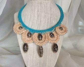 Crochet Necklace, Crochet Jewelry, Beaded Necklace, Beaded Crochet Necklace, Handmade Necklace, Artisan Necklace, Gift For Her
