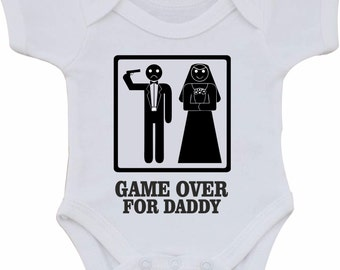 Baby vest Game over for Daddy Full colour white Baby vest