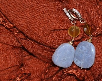 Silver earrings and Chalcedon